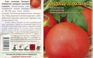 """Томат """"сибирский скороспелый"""": характеристика и описание сорта – все о помидорках"""